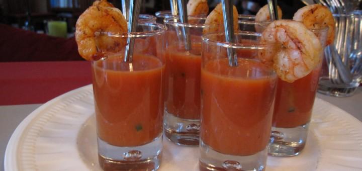 Gazpacho met komkommer en garnaal