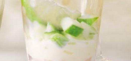 Zachte kaas met beenham en frisse komkommer